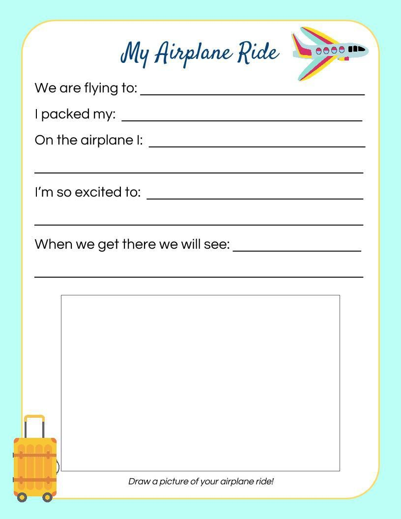 airplane ride kid u0026 39 s travel journal page