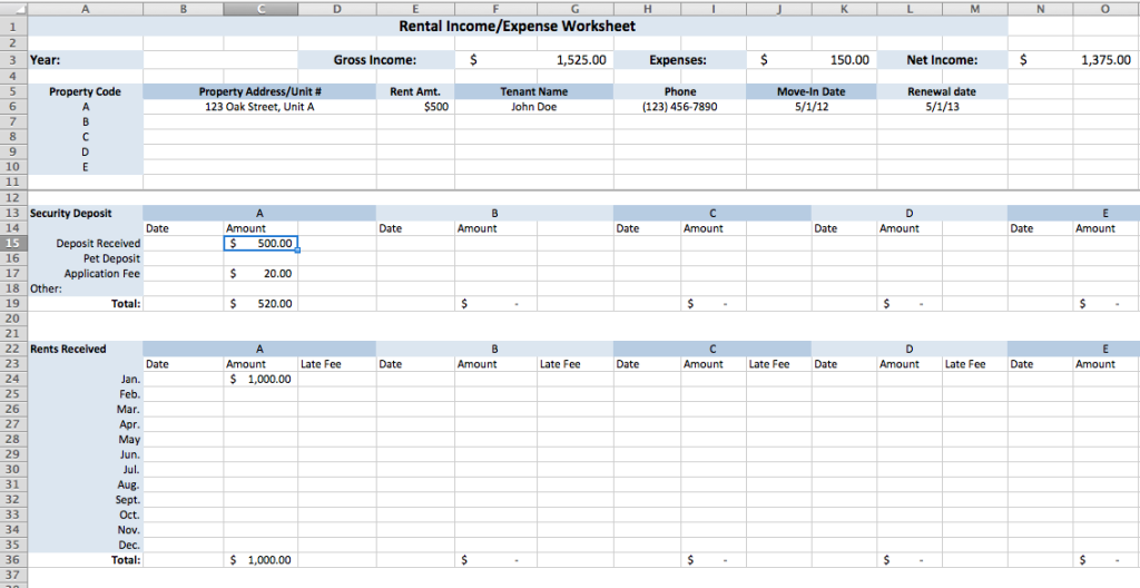 income and expenses spreadsheet