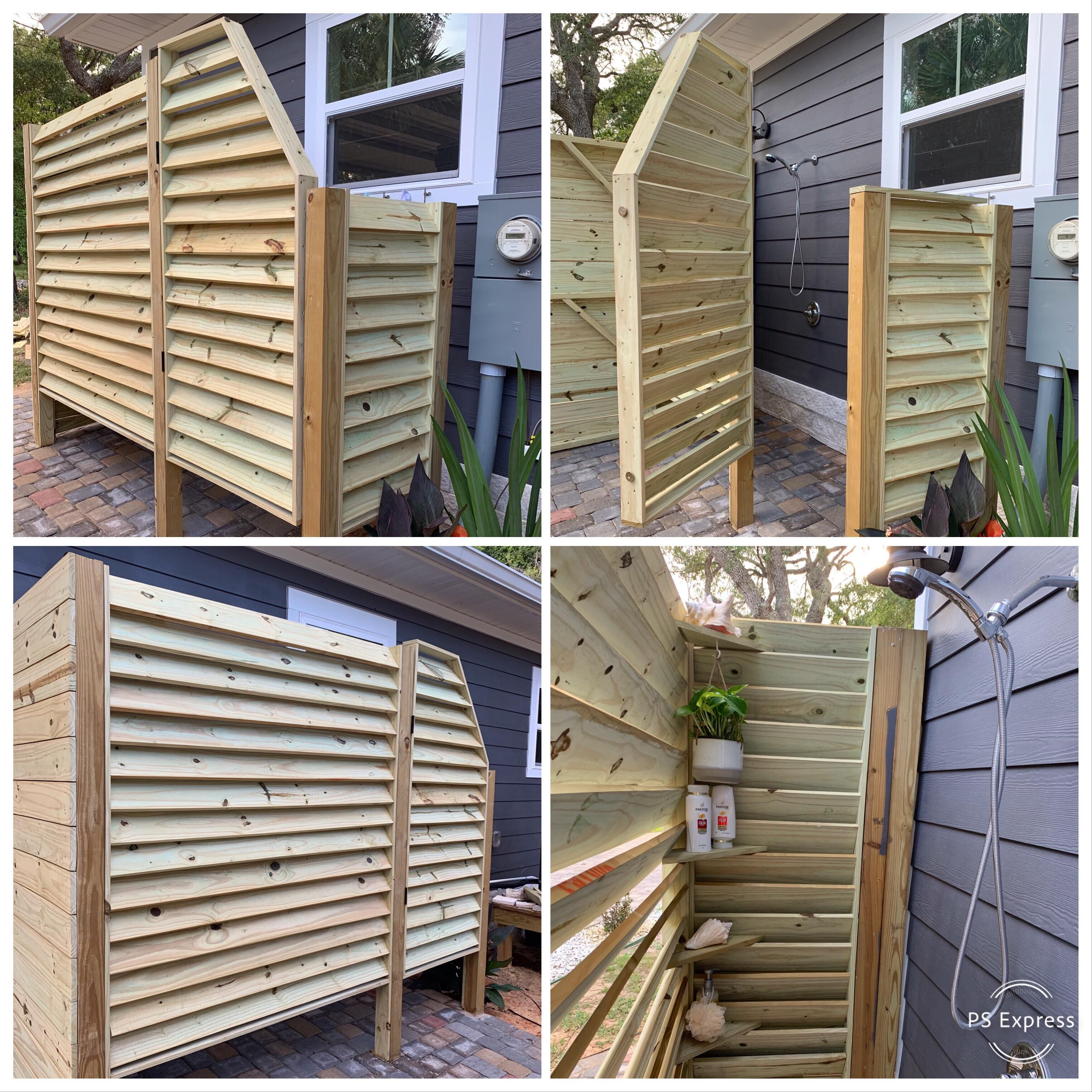 I Helped A Friend Last Weekend Build This Outdoor Shower Enclosure Using Pressure Treated 1x4s And 1x6 Outdoor Shower Enclosure Outdoor Shower Shower Enclosure