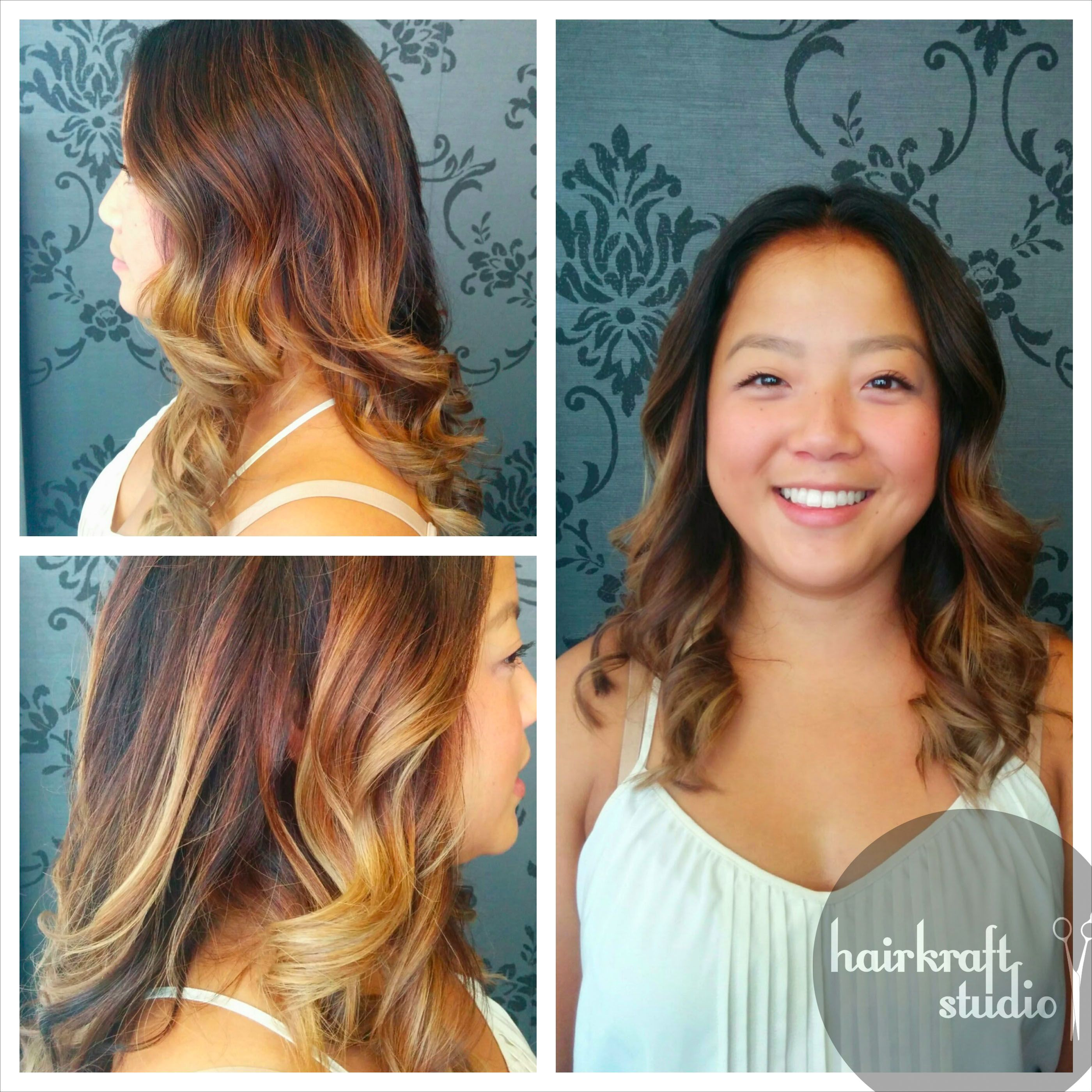 Black hair with blonde ends - Balayage Asian Hair Deep Root Shade Dark Brown Light Ends Ombre