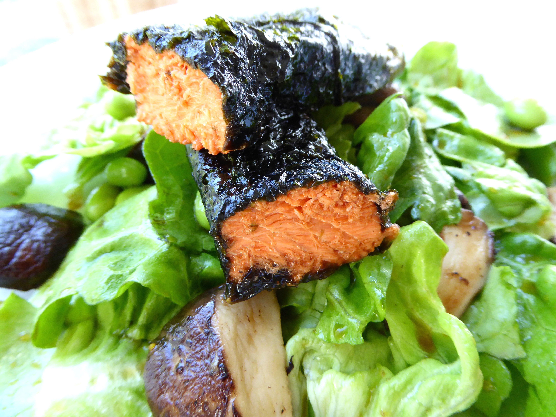 Nori wrapped roasted salmon