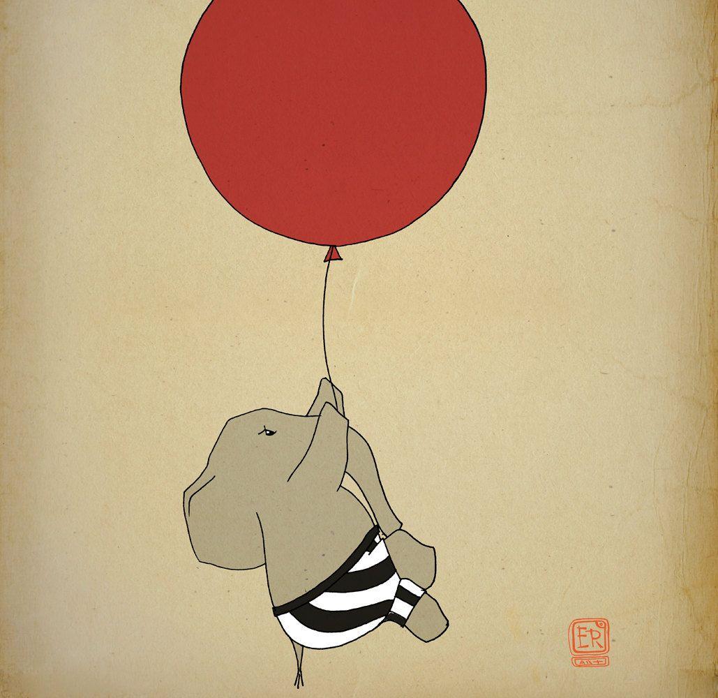 Elephant balloon Art Print 12x16 illustration - nursery wall art ...