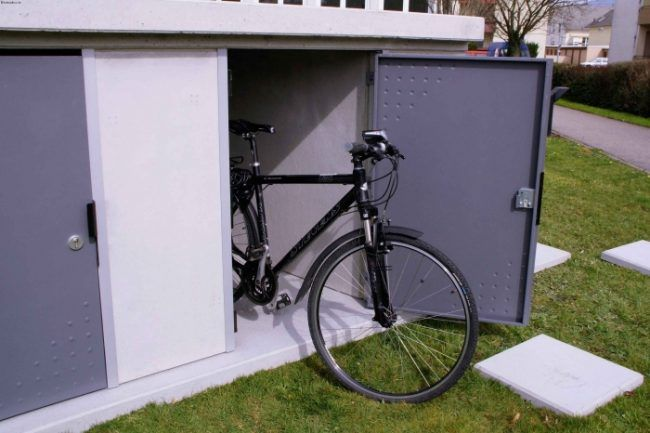 kompakte fahrradbox abstellraum fahrradschrank metall fahrrad gartenhaus garten und abstellraum. Black Bedroom Furniture Sets. Home Design Ideas