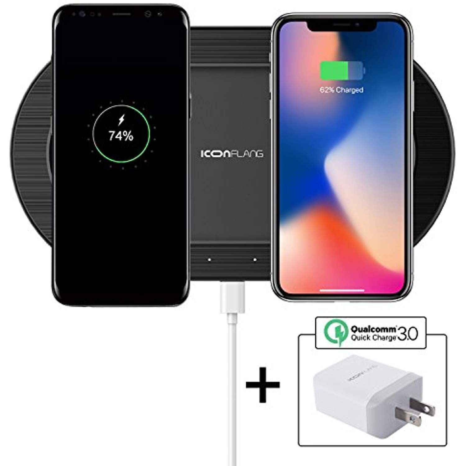 Dual Wireless Charger 2 In 1 Wireless Charging Pad With Qc3 0 Ac Adapter Qi Induction Charger Base For Iphone X I Wireless Charger Wireless Charging Pad Phone
