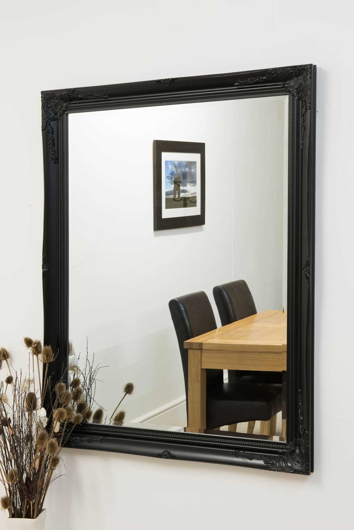 Here We Have A Large Classic Ornate Designed Black Wall Mirror The Designs Boasts Ornate Detailin Mirror Design Wall Black Wall Mirror Mirror Wall Living Room