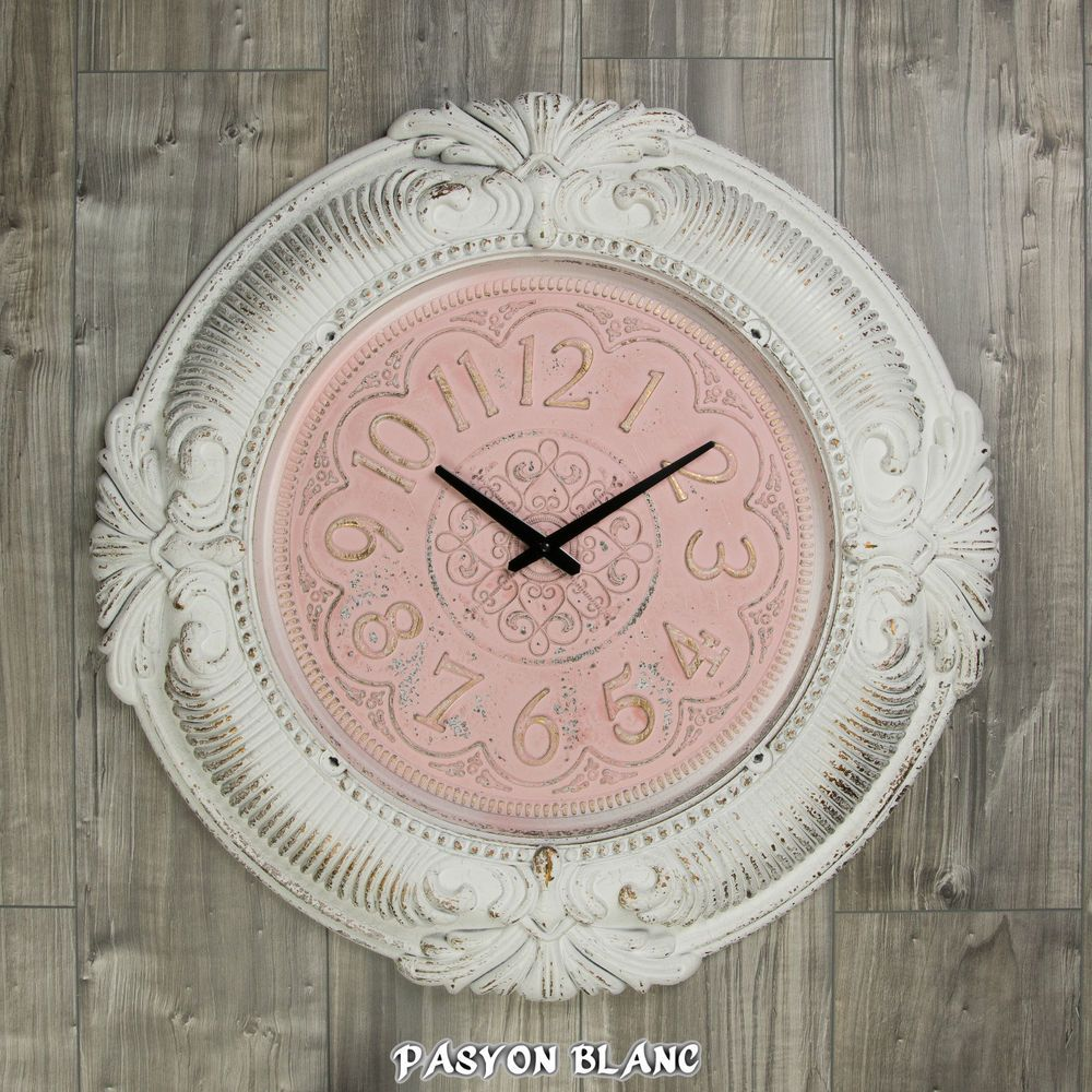 Wanduhr Uhr Durchmesser 69 Cm Shabby Chic Antik Dekor Creme Weiß Rosa Gold