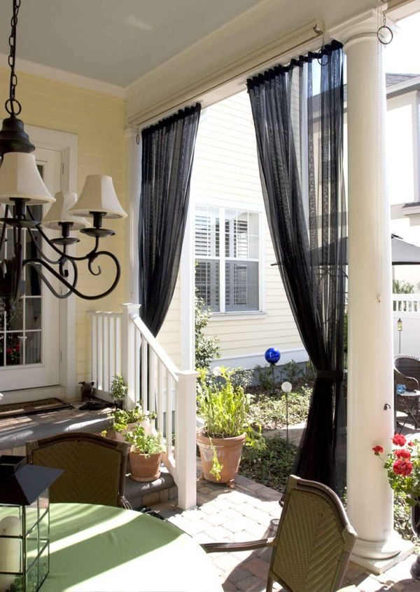 Closing In A Front Porch Ideas Outdoortheme Com Outdoor Curtains Mosquito Curtains Outdoor Curtain Rods