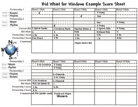 Bid Whist for Windows Example Score Sheet - BidWhist bid whist - example sign in sheet