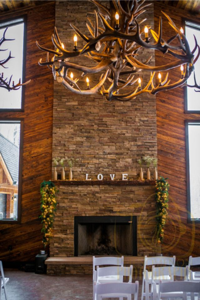 Rustic Wedding Lodge venue - Bemus Point, NY - LOVE Mantle
