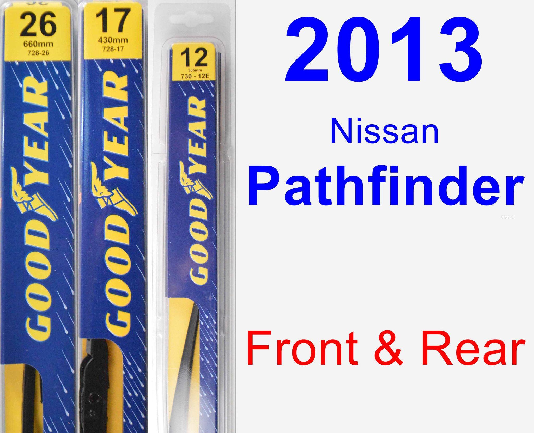 Front Rear Wiper Blade Pack For 2013 Nissan Pathfinder Premium