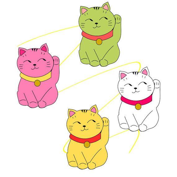 maneki-neko clip art instant download lucky cat by ... (570 x 570 Pixel)