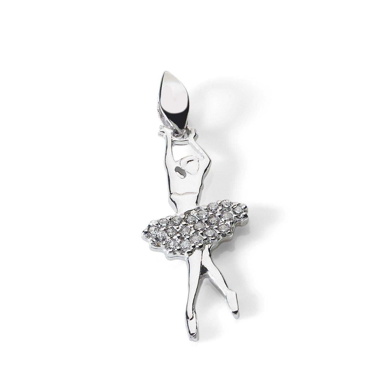 d2d8721157 Ciondolo a fotma di ballerina di danza classica con tutù, in oro bianco e  zirconi