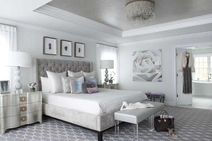 glamorous white gray master bedroom   Glamorous contemporary gray and silver bedroom features ...