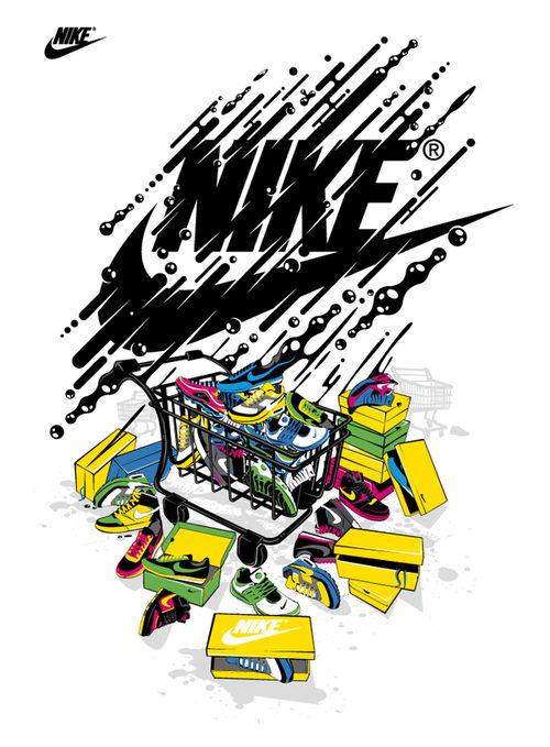 illustrations print Nike wallpaper, Nike sneakers