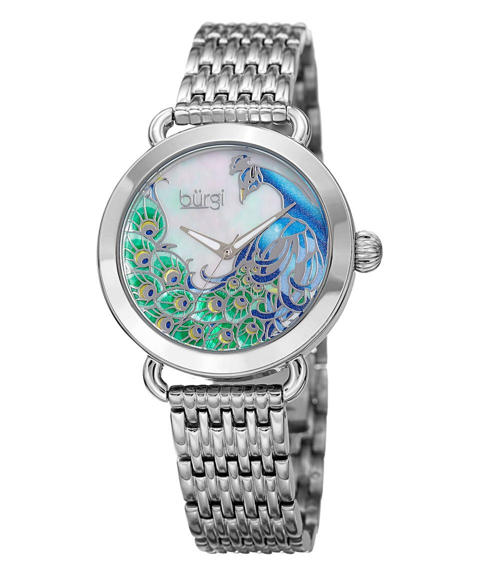 56bc3e16e923 This Blue   Mother-of-Pearl Peacock Bracelet Watch by Bürgi is perfect!   zulilyfinds