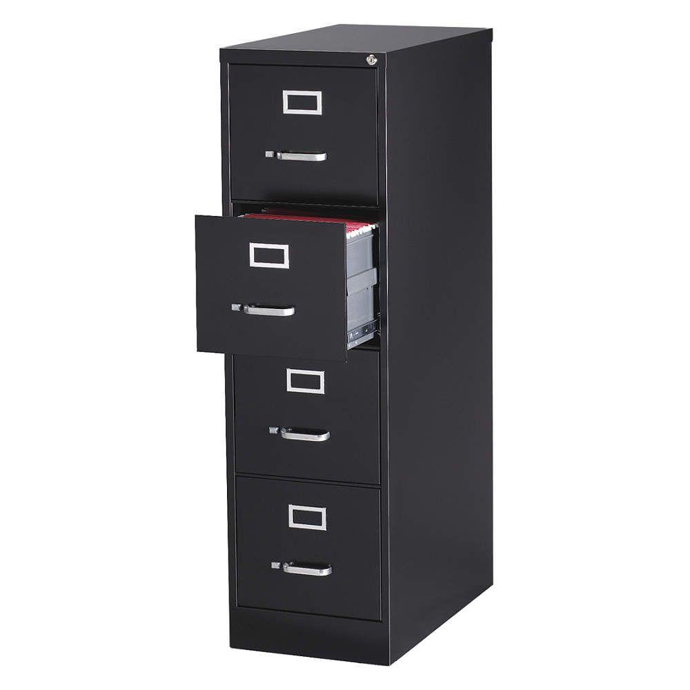 Vertical File Cabinet Vertical Width 15 In Depth 25 In Height 52 In Color Black Steel Construction Powde Filing Cabinet Drawers Drawer Filing Cabinet