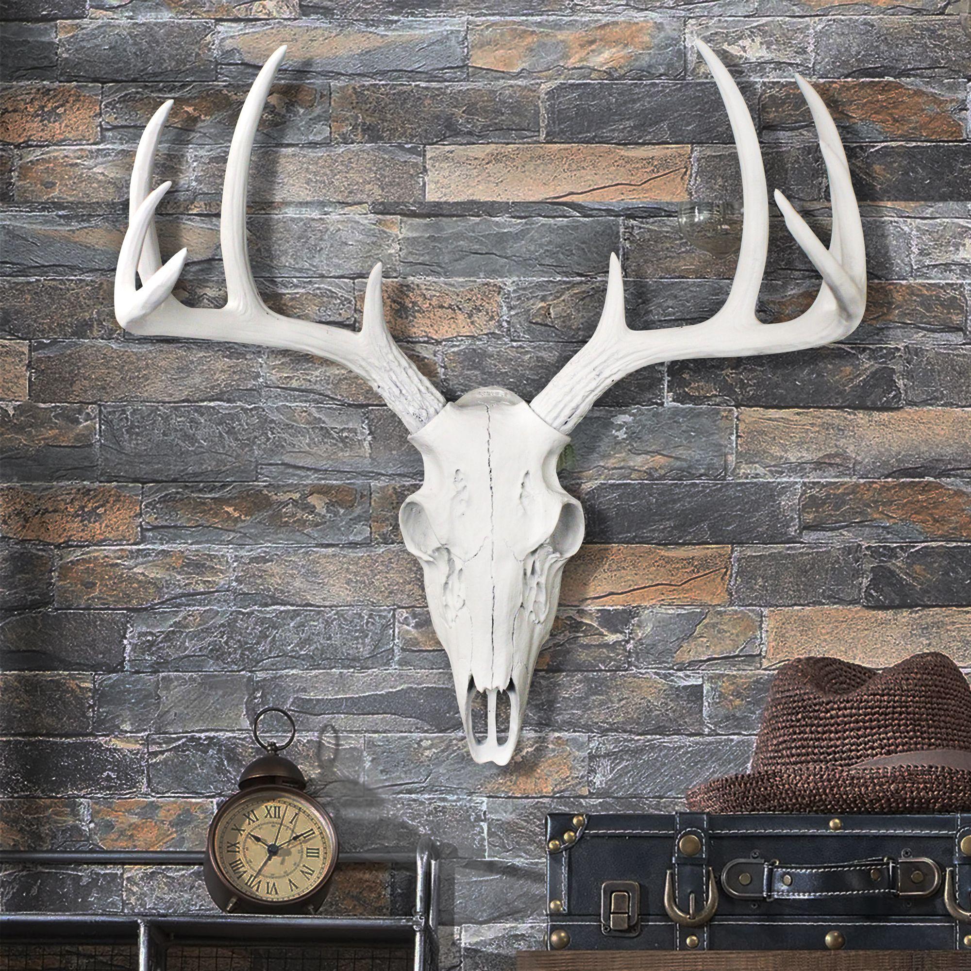 Large Deer Skull Rustic Animal Skull Farmhouse Deer Skull Fake Animal Skull Faux Taxidermy Metal Wall Decor Faux Taxidermy Decor Metal Tree Wall Art