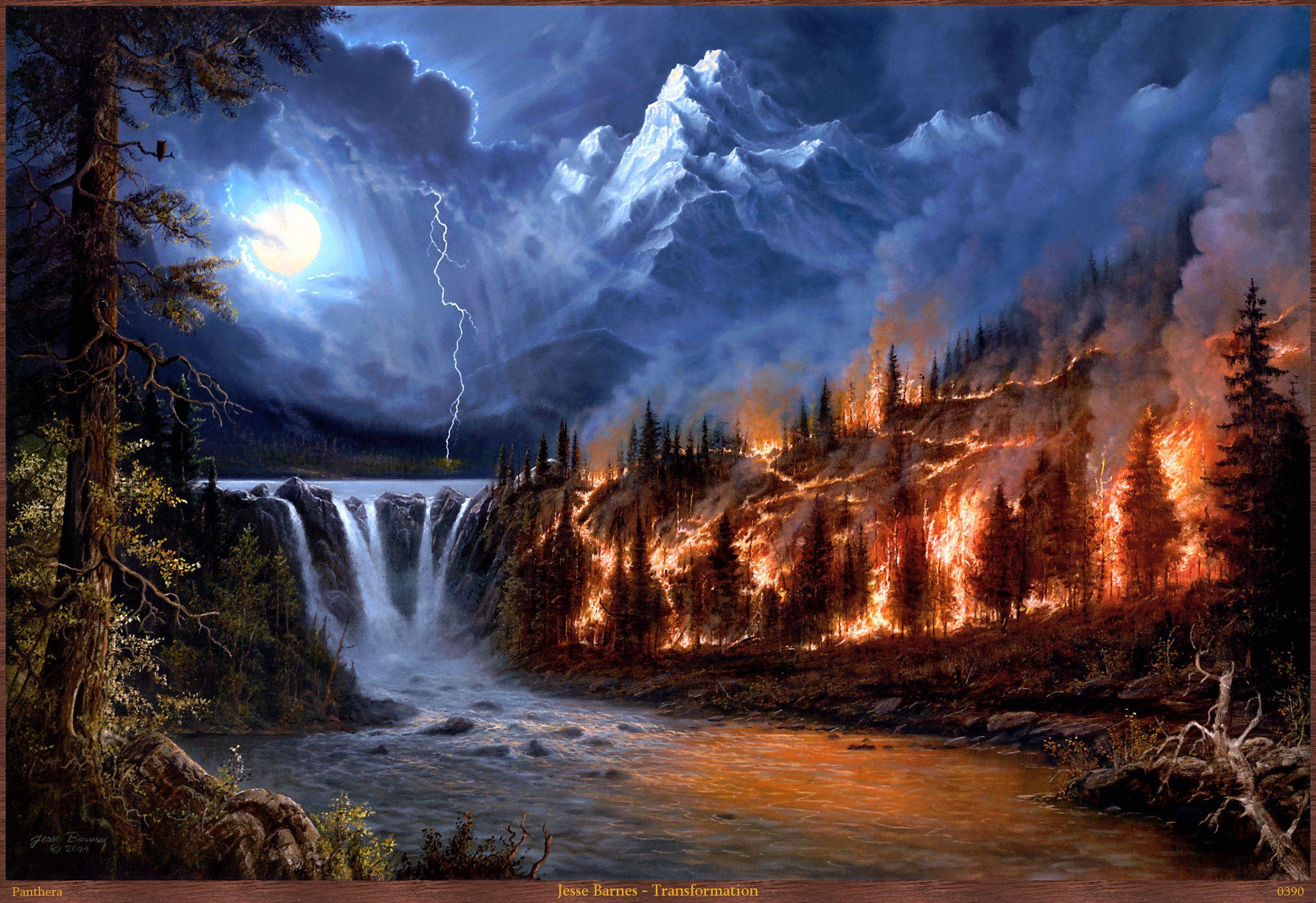 Elements Of Nature Desktop Nexus Wallpapers Landscape Mosaic Night Landscape Fire Painting