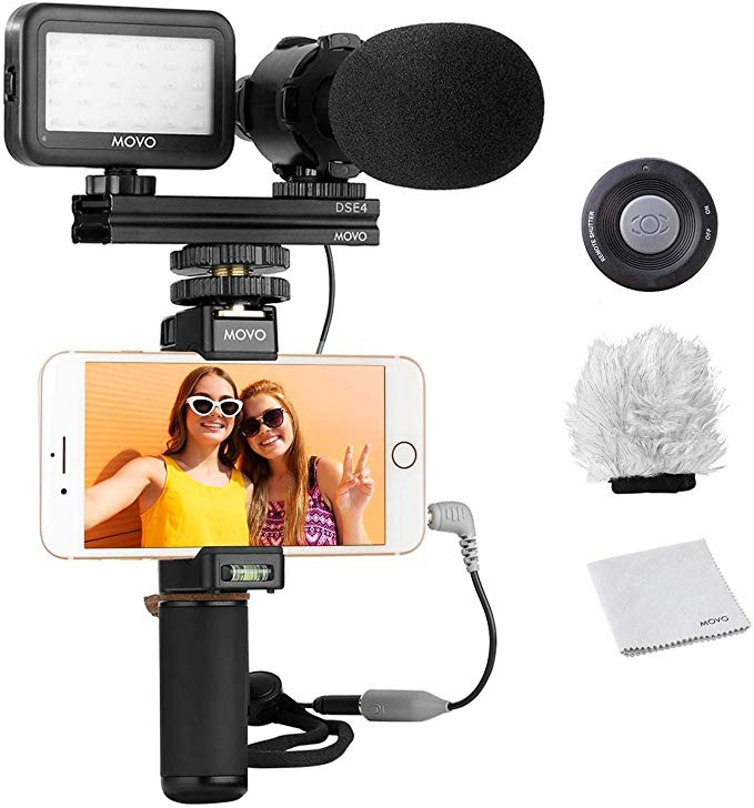 Movo Smartphone Video Rig Kit V7 With Grip Rig Pro Stereo Microphone Led Light And Wireless Remote Youtube Vlogging Equipment Vlogging Smartphone Projector