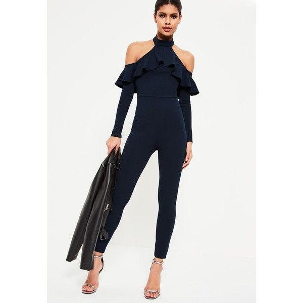 bc2098619f5 Navy Halter Cold Shoulder Frill Jumpsuit - Missguided (135 ZAR) ❤ liked on  Polyvore featuring jumpsuits
