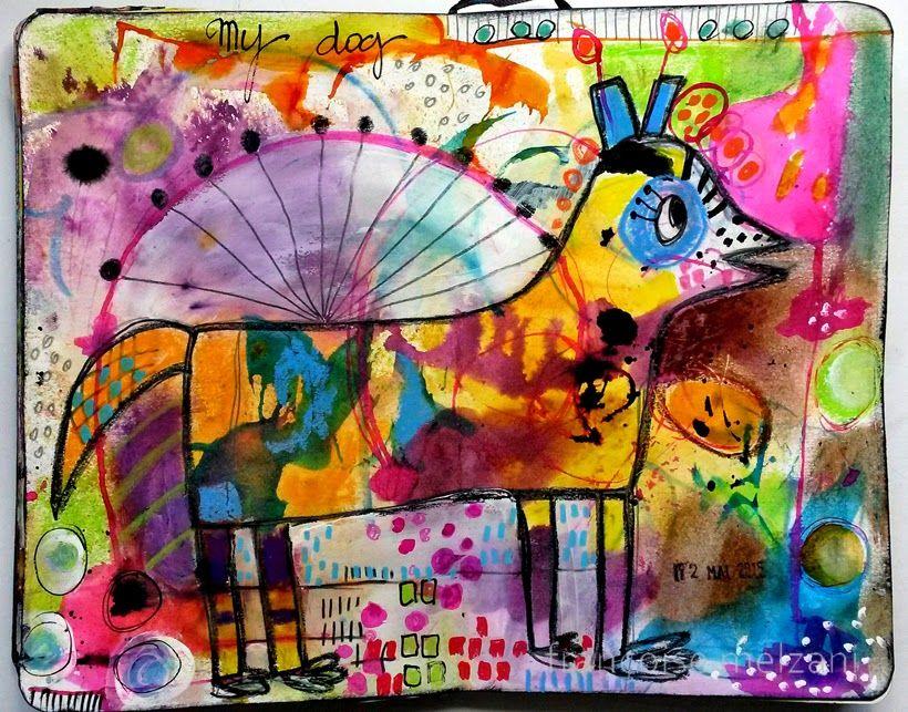 couleurs et mixed media: Art journal - semaine 12 - mon animal de compagnie...
