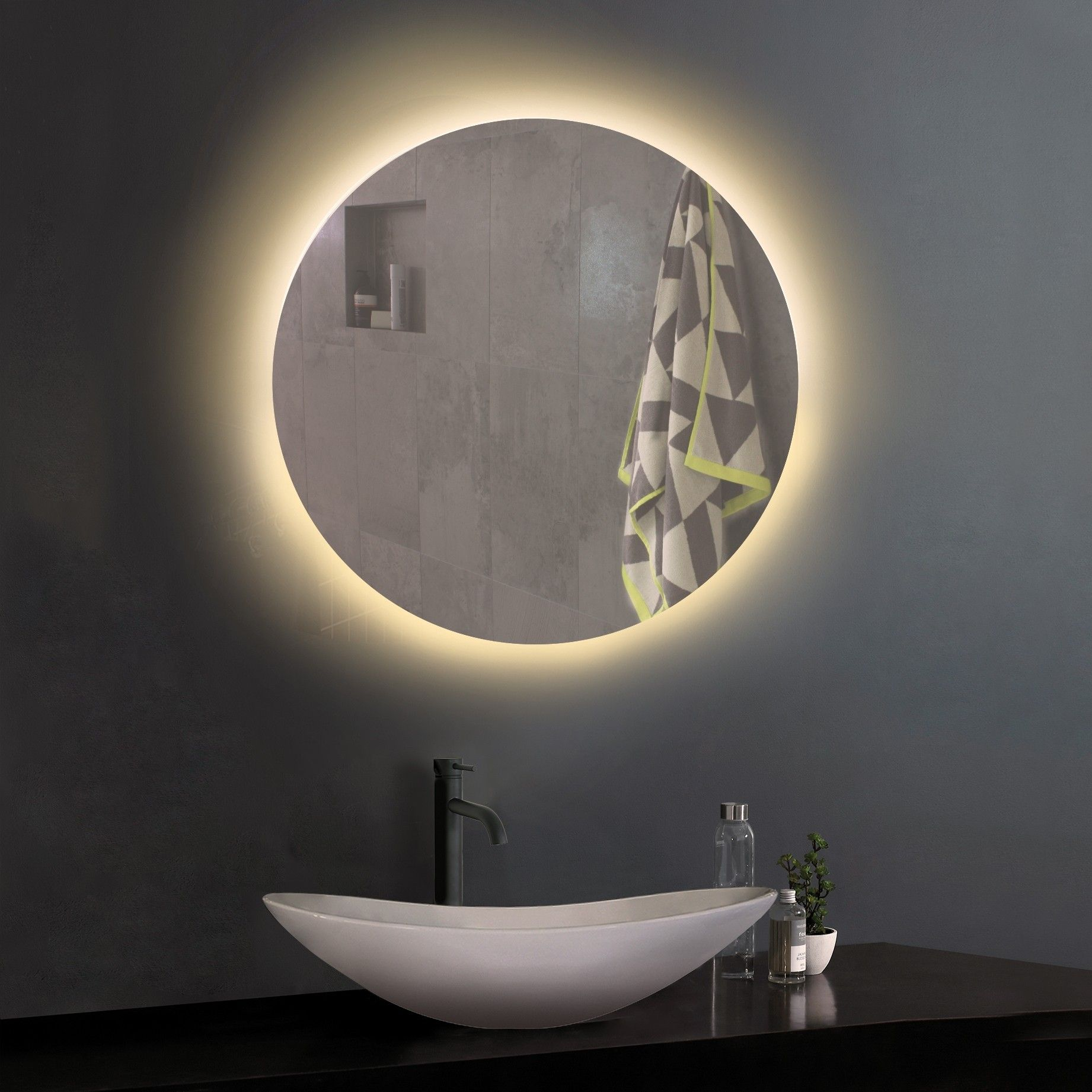 The Unique Design Of Our Illuminated Mirrors Often Makes Them The Centrepiece Of The Bathroom That At Led Mirror Bathroom Bathroom Mirror Round Mirror Bathroom