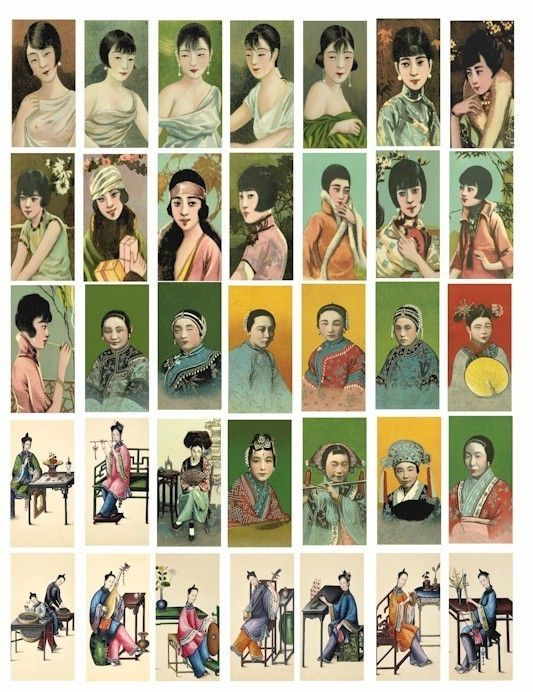 Vintage Asian Chinese girls cigarette cards by VellasCollageSheets, $1.99