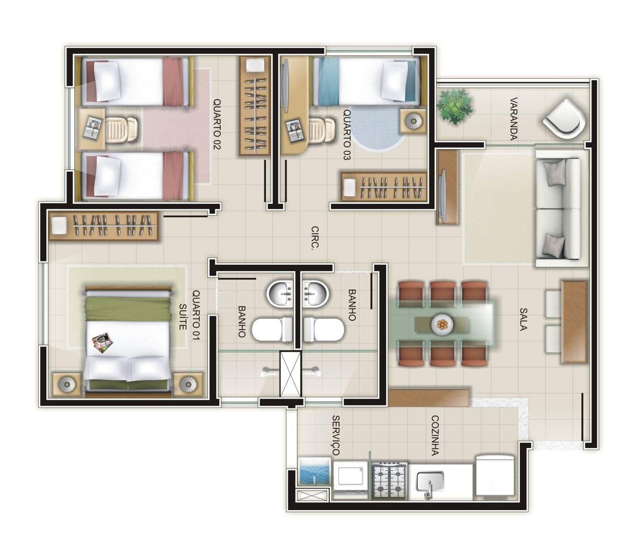 Apartamentos popular de 3 quartos pesquisa google proj for Google casas modernas