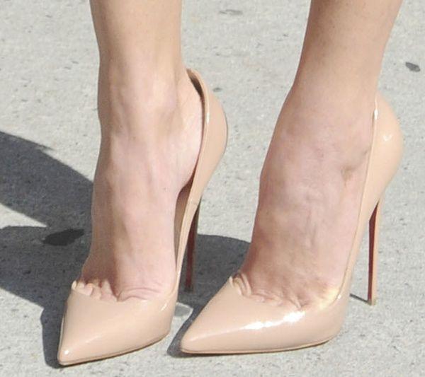 "45225971029 Olivia Munn wearing nude Christian Louboutin ""So Kate"" pumps ..."