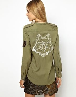 Image 1 of Zadig and Voltaire Soft Military Shirt with Wolf Embroidered Back