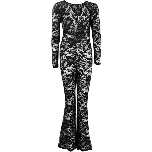 Boohoo Cara Flared Lace Jumpsuit | Boohoo ($22) ❤ liked on Polyvore featuring jumpsuits, lace jumpsuit, jump suit, flared jumpsuit and boohoo jumpsuits