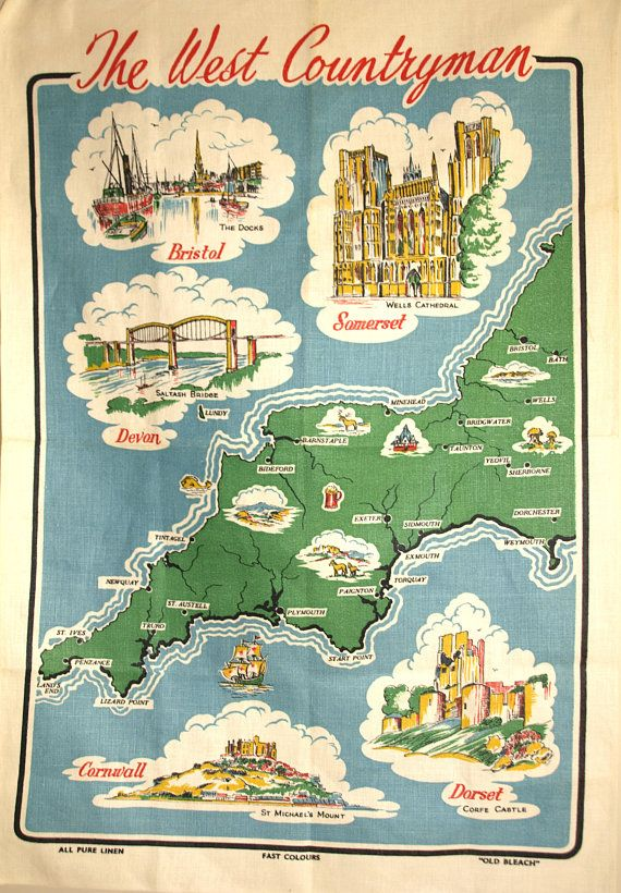 The West Countryman Map Print Tea Towel UK British Devon