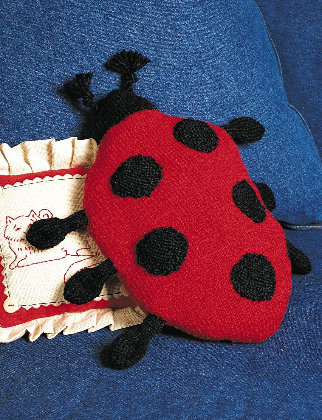 Yarnspirations patons ladybug pillow patterns ladybug pillow free knitting pattern and more free pillow knitting patterns bankloansurffo Choice Image