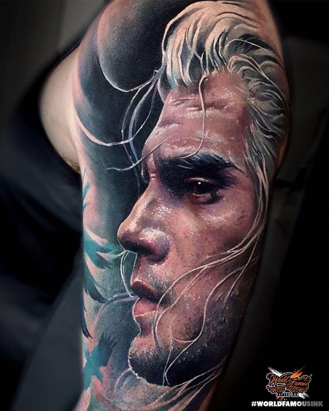 THE WITCHER by our sponsored artist @sandradaukshtatattoo using #worldfamousink 💪🏼 ➖ Follow us on instagram! ➖ #worldfamousforever #worldfamousfamily #worldfamoustattooink  #worldfamousproteam #tattoo #tattoos #tattoostyle #tattoomodel #tattooshop #tatuajes #tattooer #tattooartists #ink #inktattoo #inked #instatattoo #art #tattooing #lovetattoo #tattooconvention #vvsquidink #besttattoos #tattoolovers #tattooinspiration #tattooart #tattooidea #tattooed #tattooink #unitedink
