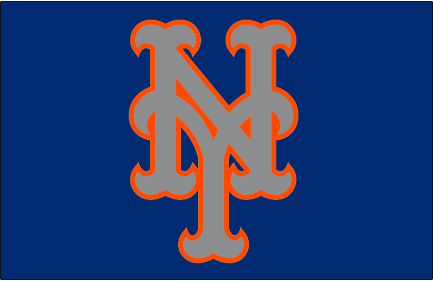 a75be99ca New York Mets Cap Logo (2015) - Silver NY outlined in orange on blue ...