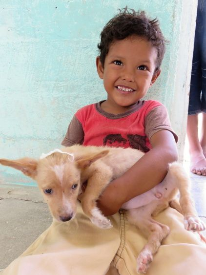 Little boy and his dog at the Free Veterinary Clinic in Sarteneja, Belize. Hip to Snip!