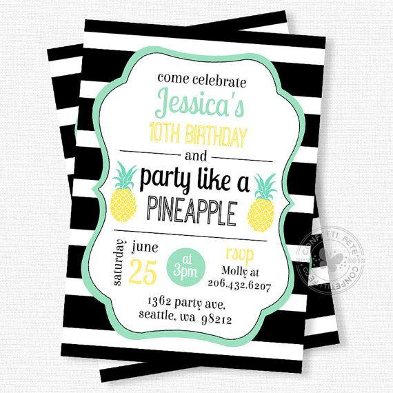 Pineapple birthday invitation party like a pineapple invitation pineapple birthday invitation party like a pineapple invitation pineapple invitation black and white stopboris Choice Image