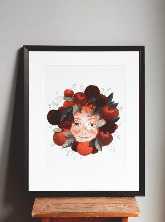 Photo of Apple wreath illustrated print – art poster – fairytale illustration – A3 poster – art print …