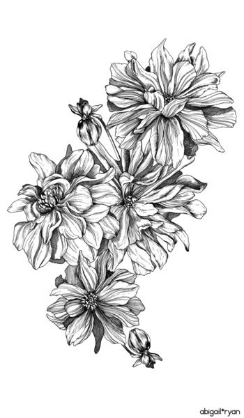 Monochrome Dahlia Art Print By Abigail Ryan Dahlia Flower Tattoos Flower Tattoo Sleeve Floral Tattoo Design