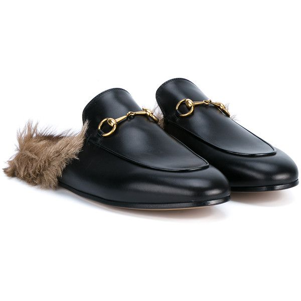 95aa60eebe87 GUCCI Princetown Leather and Kangaroo Fur Slippers ( 920) ❤ liked on  Polyvore featuring shoes and slippers