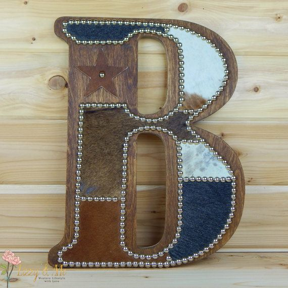 Cowhide Wall Letter B - Made to Order, Western Home Decor, Wall