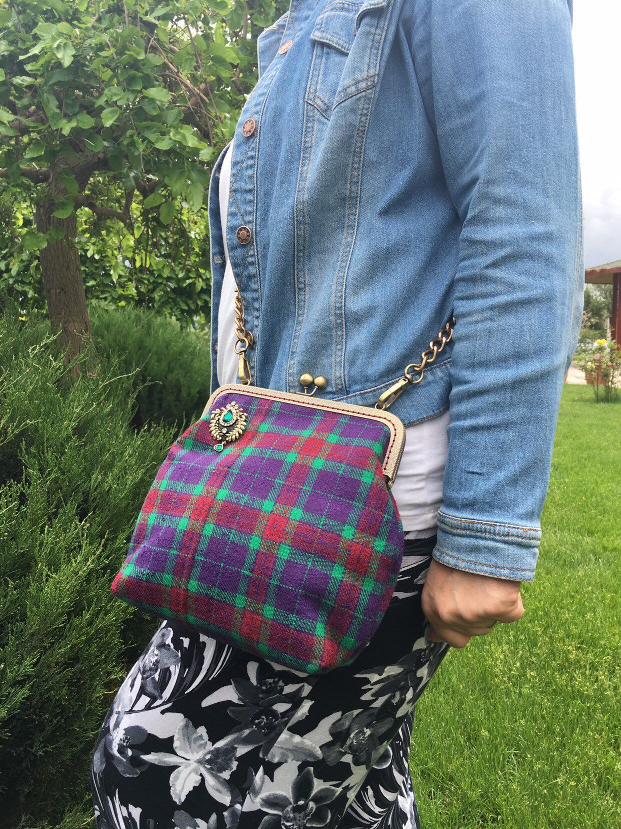 5fe282f654 Excited to share this item from my  etsy shop  Large Purple Plaid Purse  with Shoulder Strap
