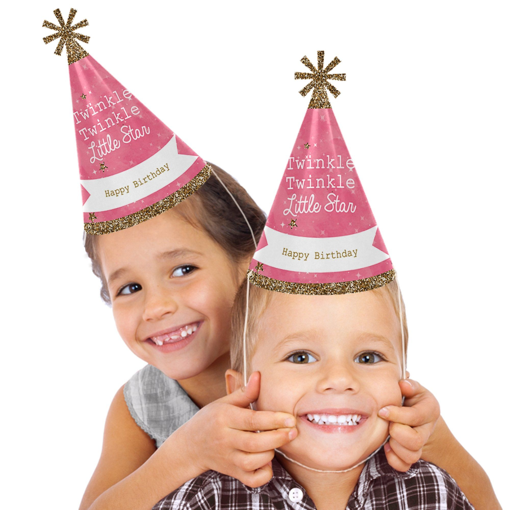 Pink Twinkle Little Star Cone Happy Birthday Party Hats For Kids And Adults Set Of 8 Standard Size Learn More By Visiting The Image Link