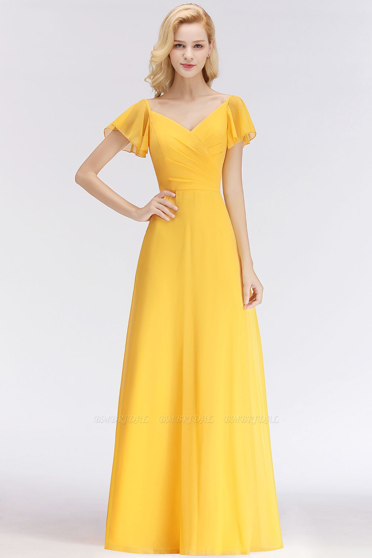 Amarillo De Manga Corta De Gasa Largo Vestido De Dama De Honor En Línea Short Sleeve Bridesmaid Dress Yellow Bridesmaid Dresses Bridesmaid Dresses Long Chiffon
