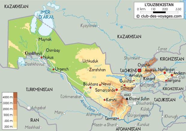 Carte Ouzbėkistan   Ouzbekistan, Mer d'aral, Carte