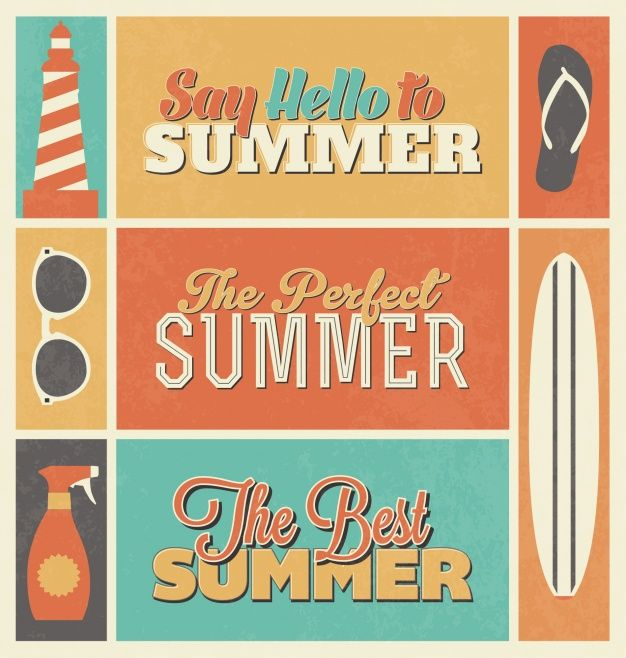 Summer designs collection Free Vector