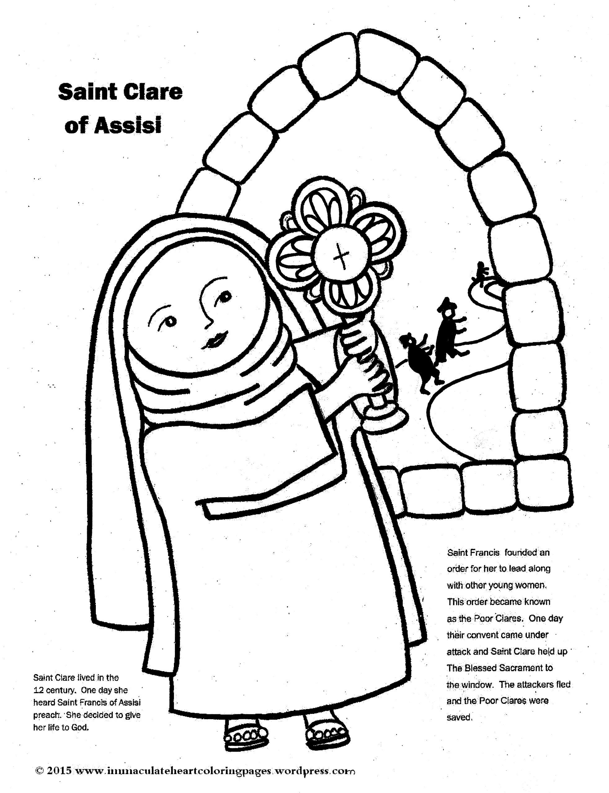 Cute free Catholic coloring pages. | Clare of assisi ...