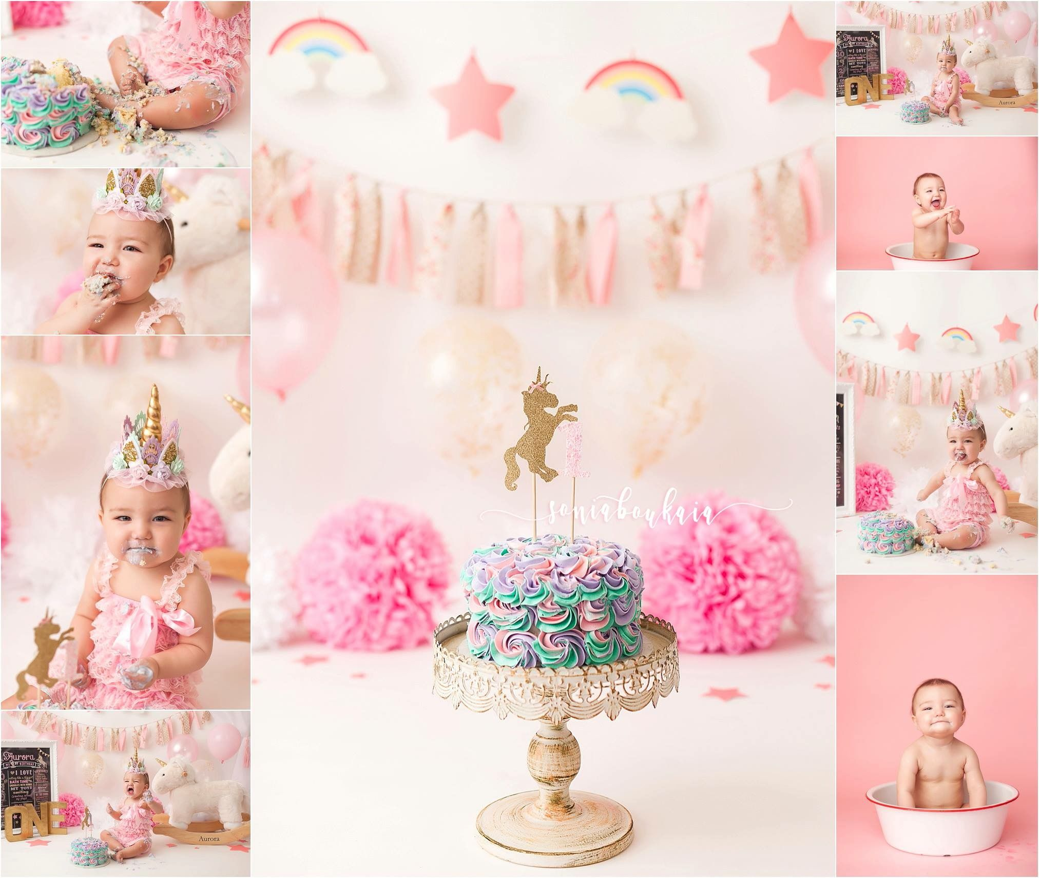 Unicorn Cake Smash Session Pink Girl Cake Smash Session With