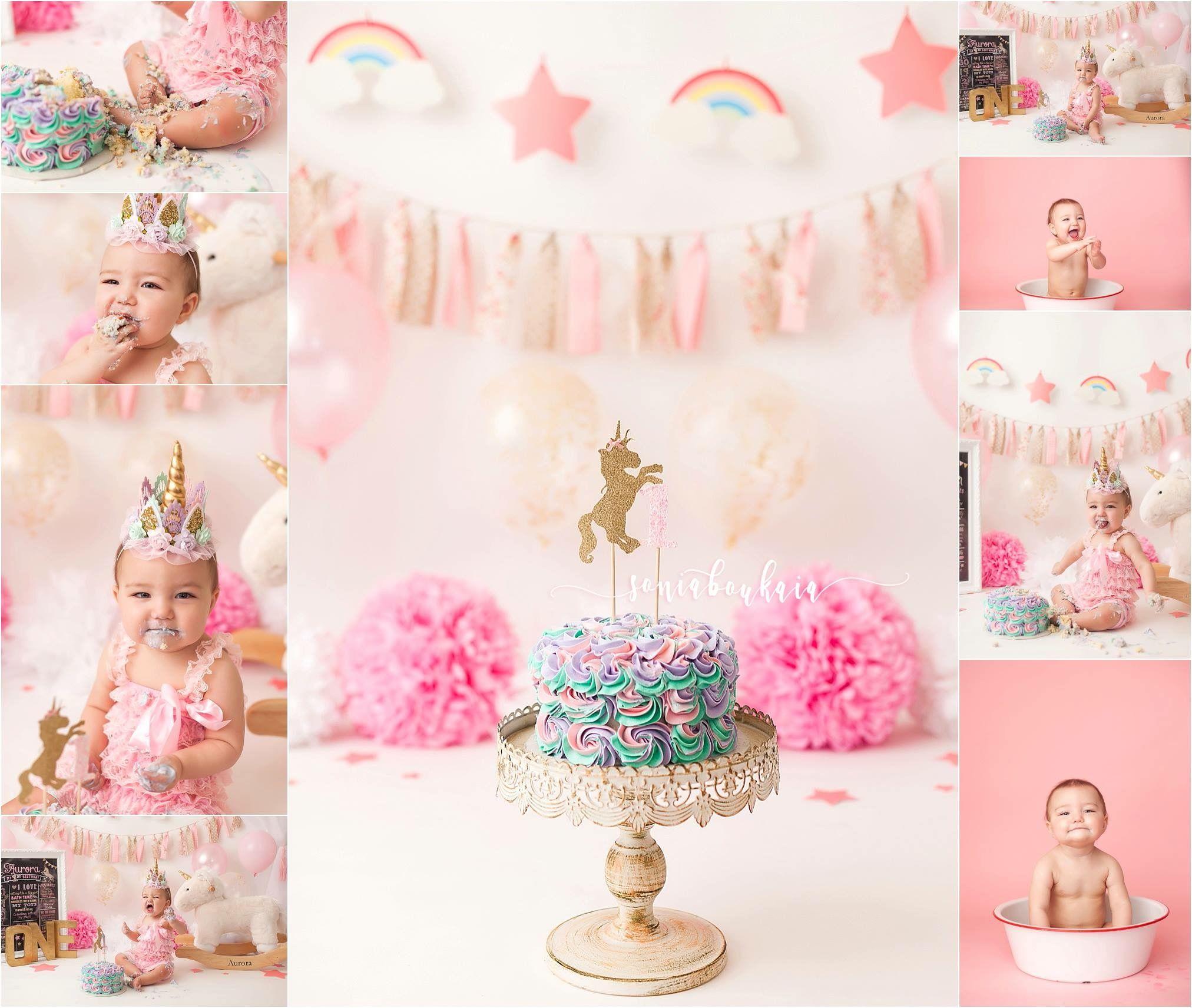 Unicorn Cake Smash Session Pink Girl Cake Smash Session