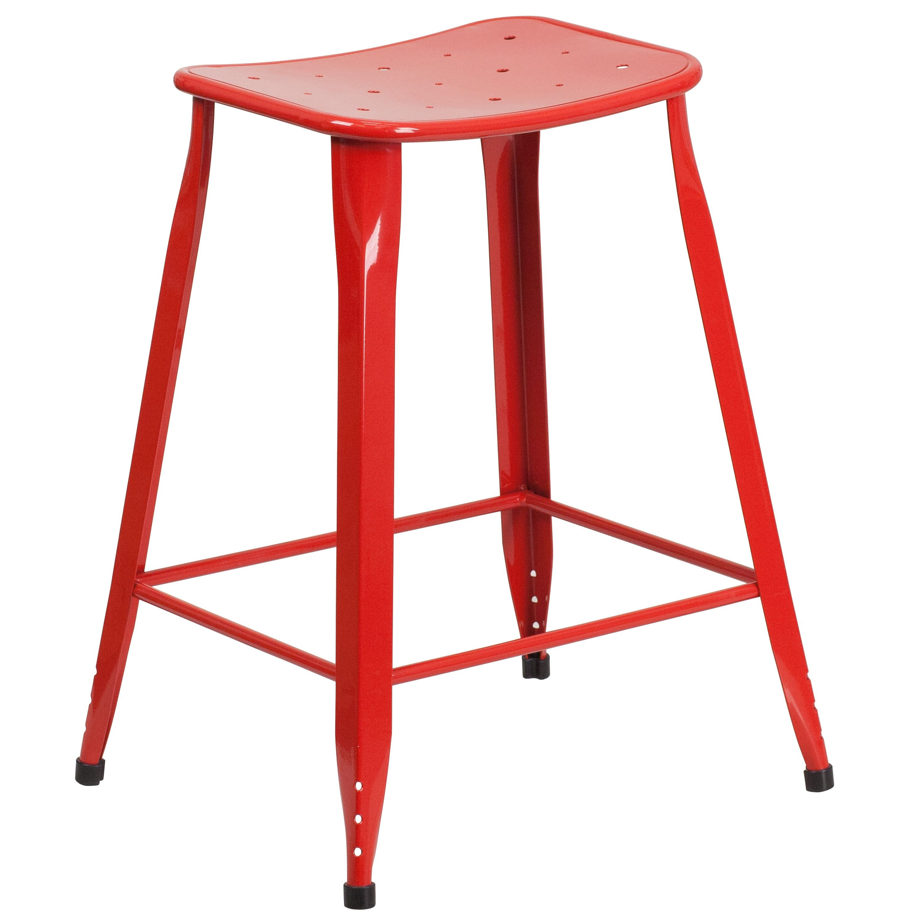 Sleek And Incredibly Fashionable This Flash Furniture Distressed Orange Metal Indoor Outdoor Counter Height Stool Will Update Your Home Bar
